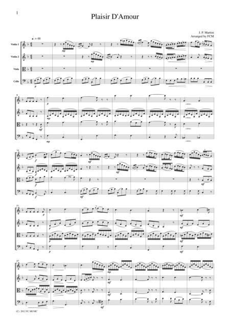 Martini  Plaisir D'Amour, for string quartet, CM501