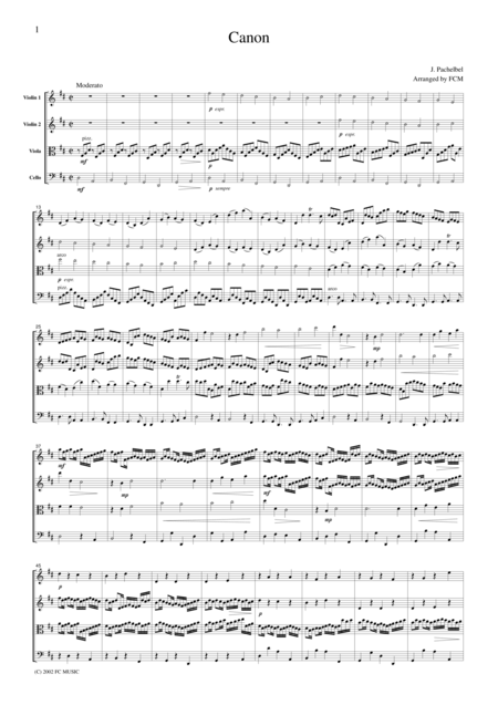Pachelbel  Canon, for string quartet, CP001