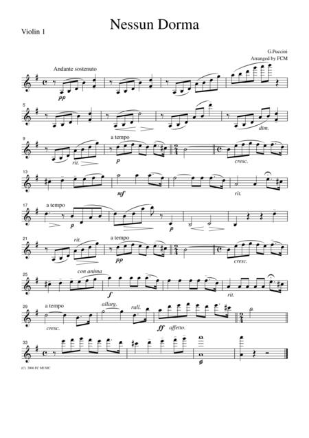 Puccini  Nessun Dorma, for string quartet, CP201