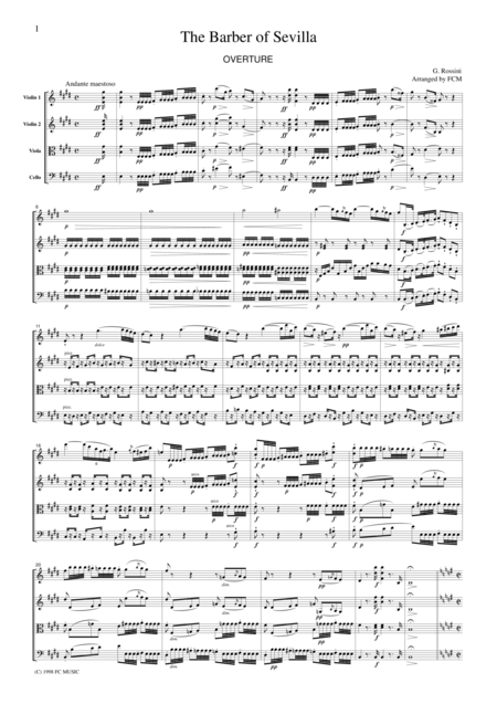 Rossini  Overture to The Barber of Seville, for string quartet, CR101