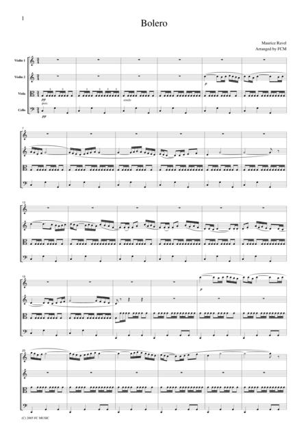 Ravel  Bolero, for string quartet, CR302