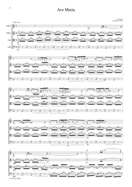 Schubert  Ave Maria, for string quartet, CS001