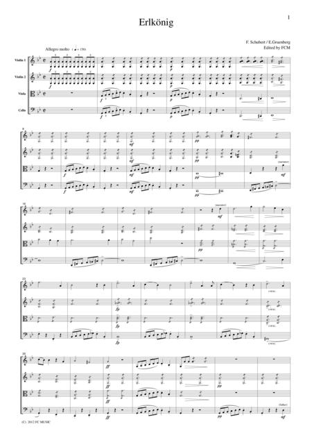Schubert  Erlkonig (Erl King), for string quartet, CS006