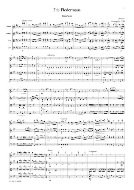 J.Strauss  Die Fledermaus (The Bat) Overture, for string quartet, CS107
