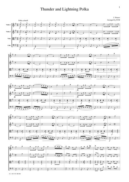 J.Strauss  Thunder and Lightning Polka, for string quartet, CS111
