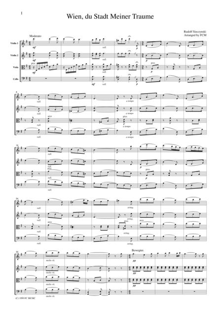 Sieczynsky  Wien, du Stadt meiner Traume (Vienna, City of my Dreams), for string quartet, CS301