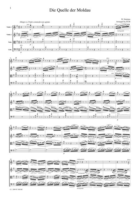 Smetana  Die Quelle der Moldau, for string quartet, CS701