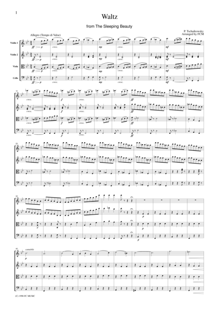 Tchaikowsky  Waltz from The Sleeping Beauty, for string quartet, CT003