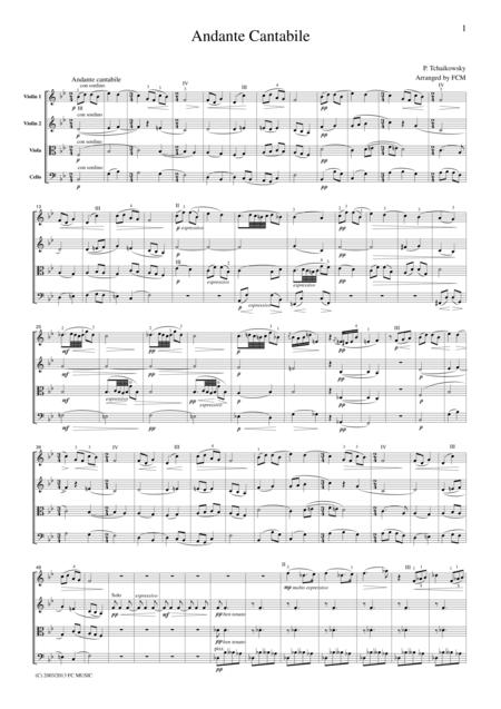 Tchaikowsky  Andante Cantabile, String Quartet No.1, 2nd mvt., for string quartet, CT004
