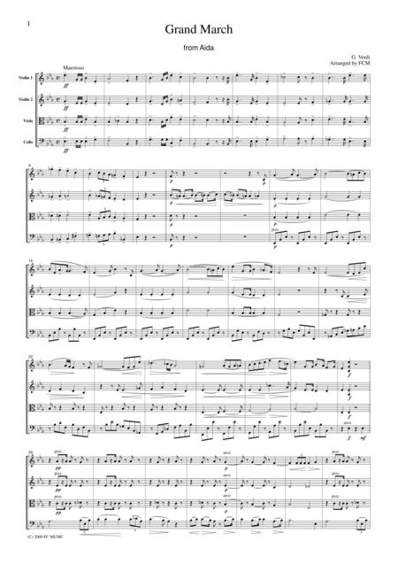 Verdi  Grand March from Aida, for string quartet, CV002