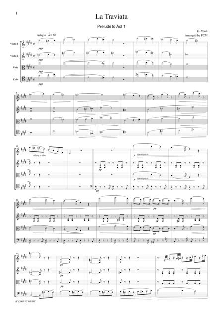 Verdi  La Traviata (Prelude to Act I), for string quartet, CV003