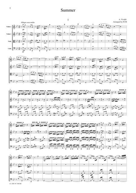 Vivaldi  Summer from the Four Seasons, all mvts., for string quartet, CV102