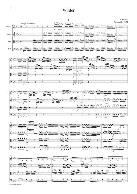 Vivaldi  Winter from the Four Seasons, all mvts., for string quartet, CV104