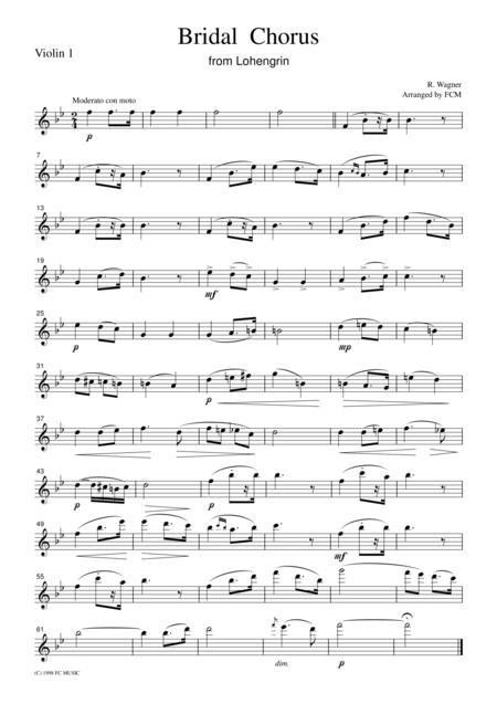 Wagner  Bridal Chorus from Lohengrin, for string quartet, CW001