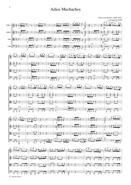 Tango  Adios Muchachos, for string quartet, TA008