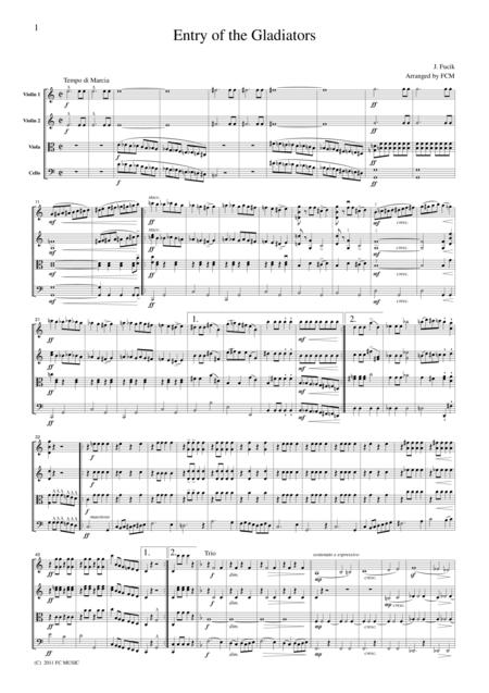 Fucik  Entry of the Gladiators, for string quartet, JA009