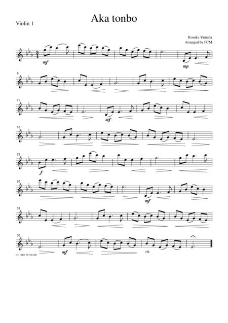 Japanese famous song  Aka tonbo, for string quartet, JD006