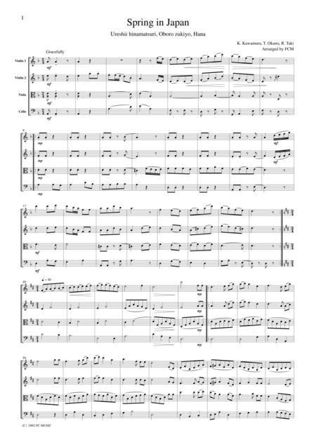 Japanese famous songs (medley)  Spring in Japan(Ureshii hinamatsuri, Oboro zukiyo, Hana), for string quartet, JD007