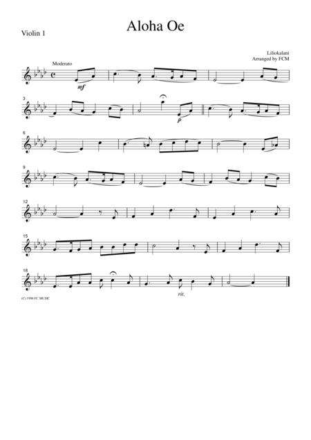 Hawaiian Folk Song  Aloha Oe, for string quartet, JM002