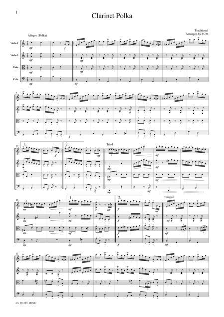 Clarinet Polka, for string quartet, JM005