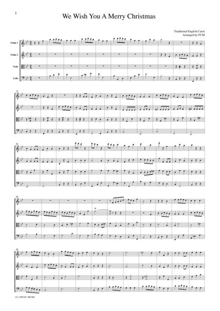 Christmas Carol  We Wish You A Merry Christmas, for string quartet, CH904