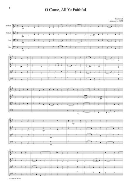 Christmas Carol  O Come, All Ye Faithful, for string quartet, CH905