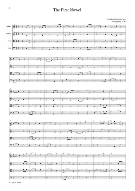 Christmas Carol  The First Nowel, for string quartet, CH907