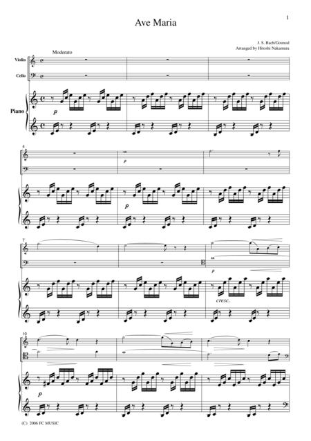 Bach-Gounod  Ave Maria, for piano trio, PB001