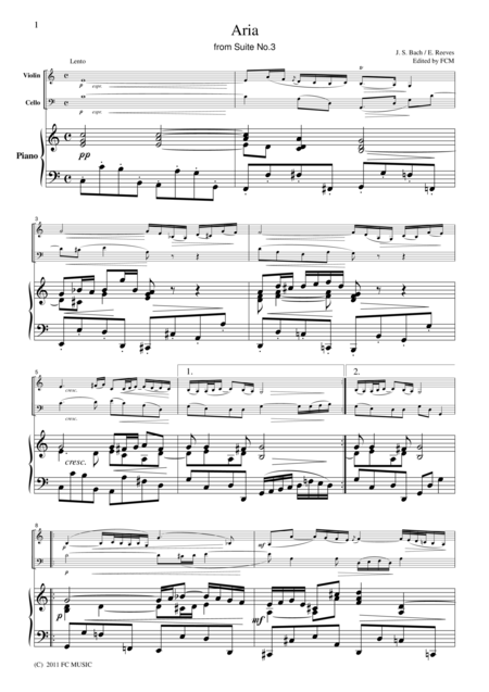 Bach  Aria from Suite No.3, for piano trio, PB004