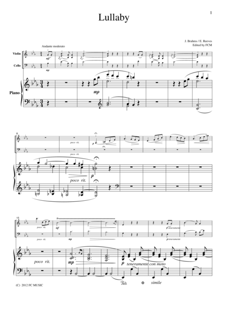 Brahms  Lullaby, for piano trio, PB102