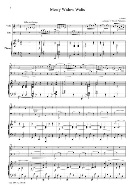 Lehar  Merry Widow Waltz, for piano trio, PL001