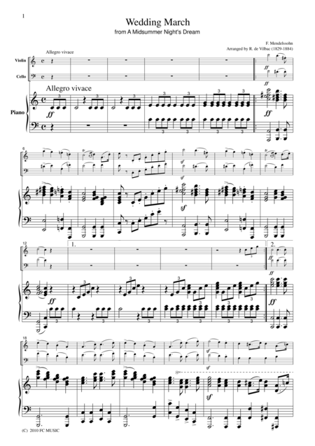 Mendelssohn  Wedding March, for piano trio, PM101