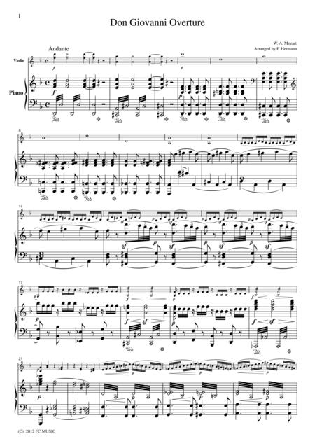Mozart  Don Giovanni Overture, for Violin & Piano, VM004