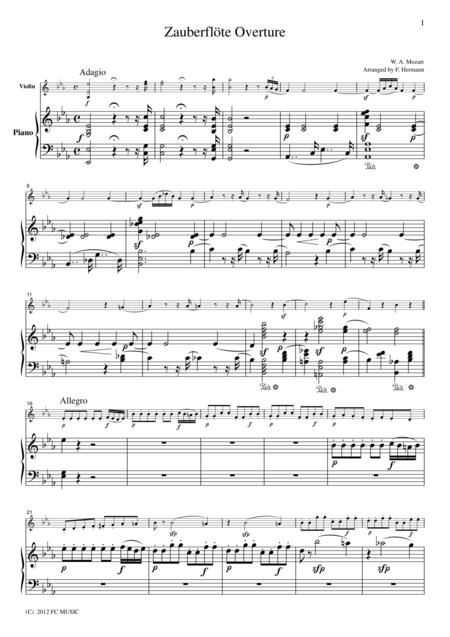 Mozart  Zauberflote Overture, for Violin & Piano, VM006