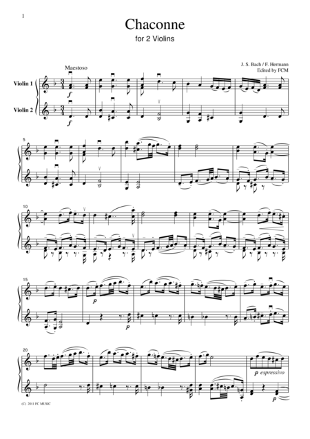 Bach  Chaconne, for 2 Violins, VN204