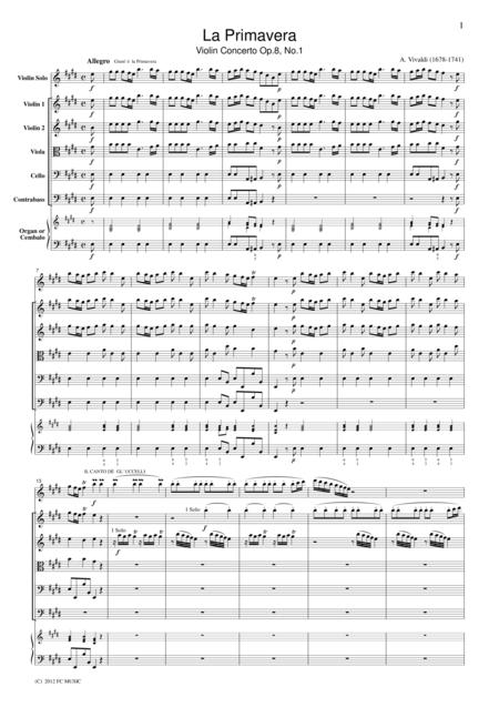 Vivaldi  La Primavera Violin Concerto Op.8, No.1, for string orchestra, SV001