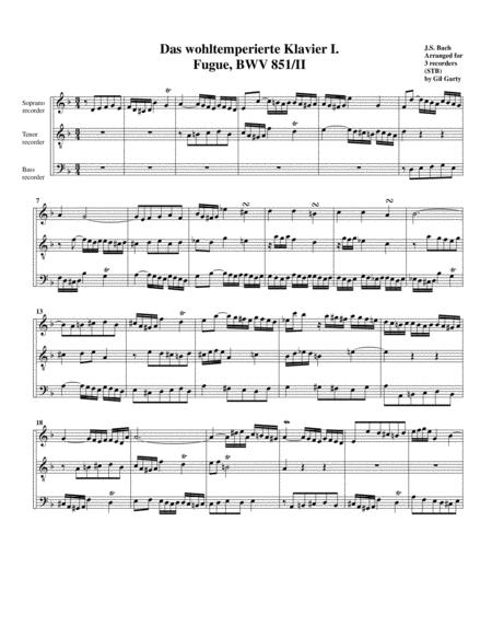Fugue from Das wohltemperierte Klavier I, BWV 851/II