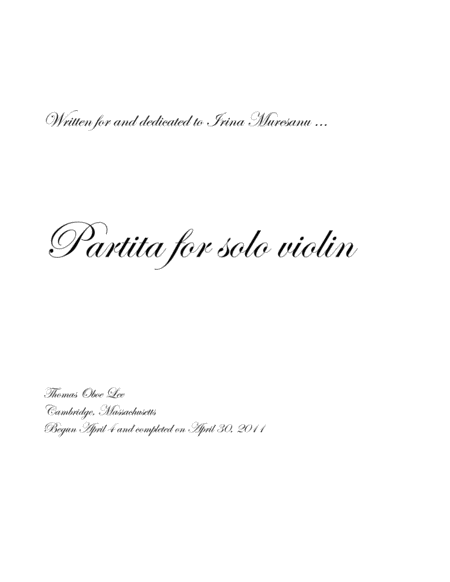 Partita for solo violin (2011)