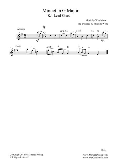 Minuet in G Major K.1 (Mozart) - For Flute Solo / Lead Sheet