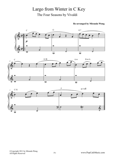 Largo from Winter (The Four Seasons) - Piano Solo in C Key