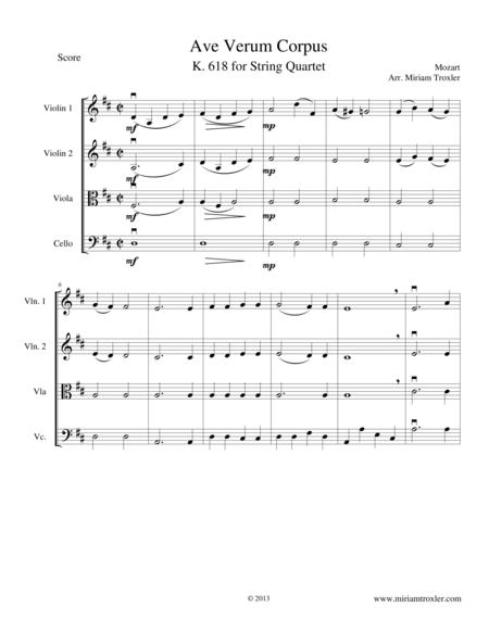 Ave Verum Corpus for String Quartet