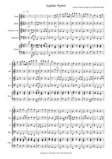 Jupiter Hymn for Wind Quartet