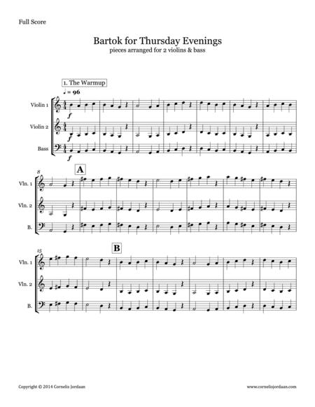 Bartok for Thursday Evenings, for 2 violins & bass