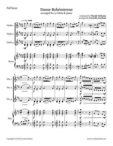 Danse Bohémienne, arranged for 3 violins & piano
