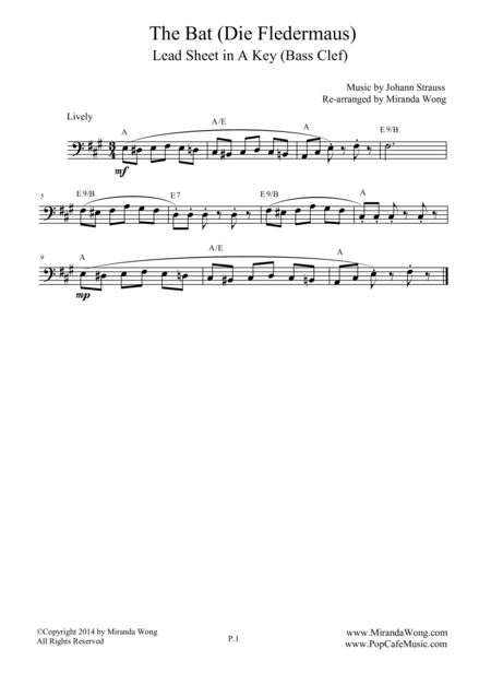 The Bat (Die Fledermaus) - Lead Sheet for Cello Solo (Bass Clef)