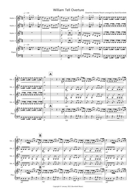 William Tell Overture for Violin Quartet