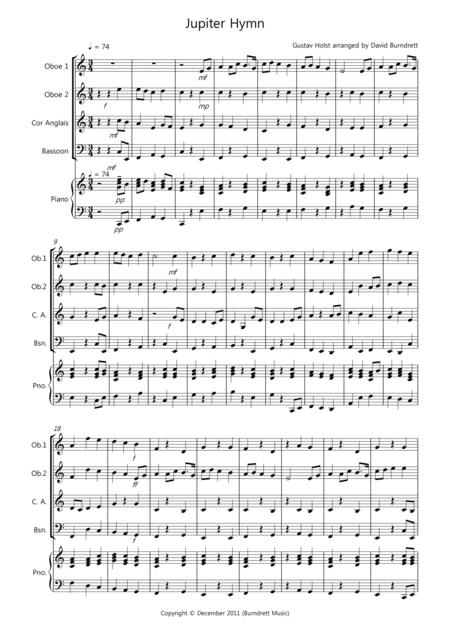 Jupiter Hymn for Double Reed Quartet