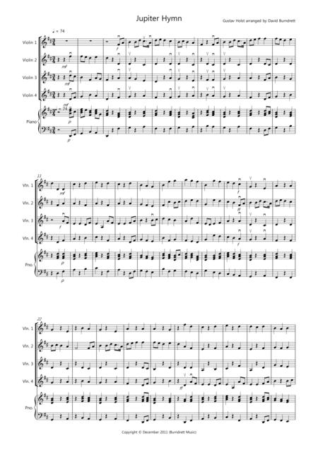 Jupiter Hymn for Violin Quartet