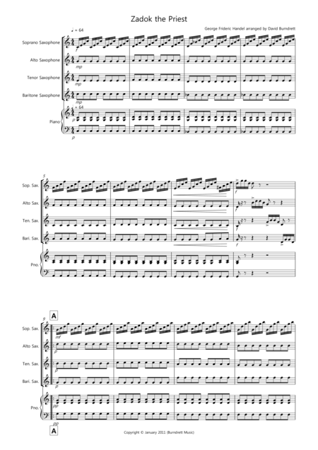 Zadok the Priest for Saxophone Quartet