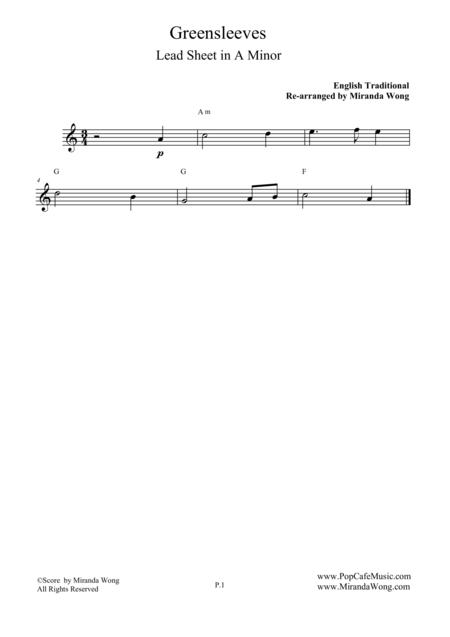 Greensleeves - Lead Sheet in A Minor (What Child is This)